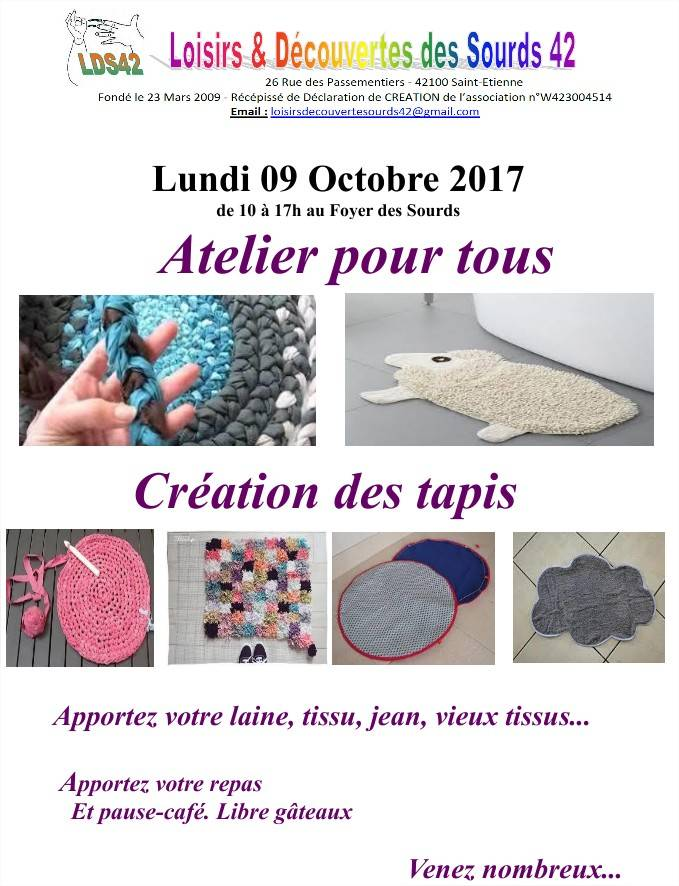 Photo of 9 Octobre : Atelier pour tous… à Saint-Etienne